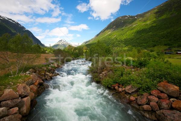 Fast river in scandinavian landscape Stock photo © Nejron
