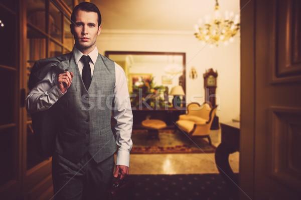 Férfi szürke mellény aktatáska luxus otthon Stock fotó © Nejron