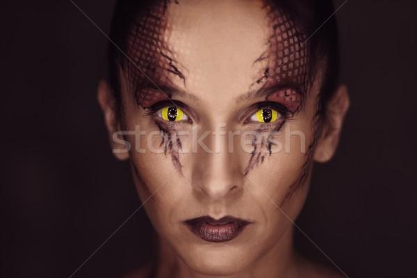 Woman with snake body-art Stock photo © Nejron