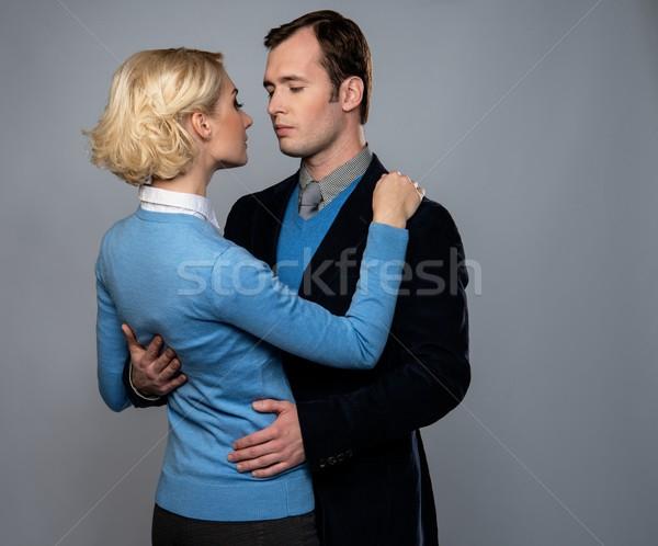 Homem jaqueta mulher azul cardigã Foto stock © Nejron