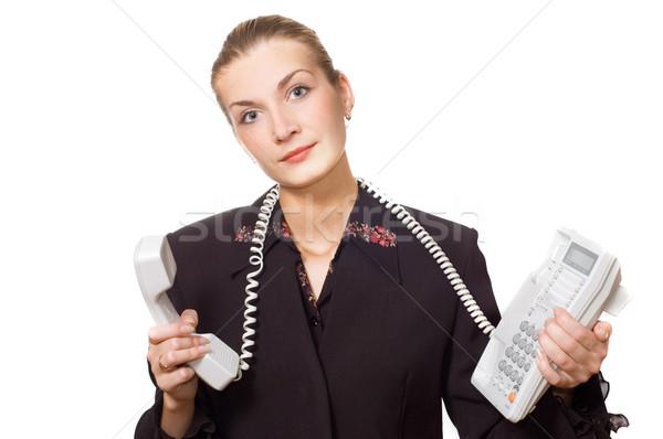 Сток-фото: устал · телефон · оператор · стороны · лице · работу