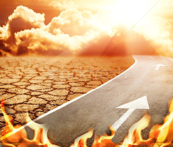 Autostrady piekła pustyni niebo drogowego tle Zdjęcia stock © Nejron