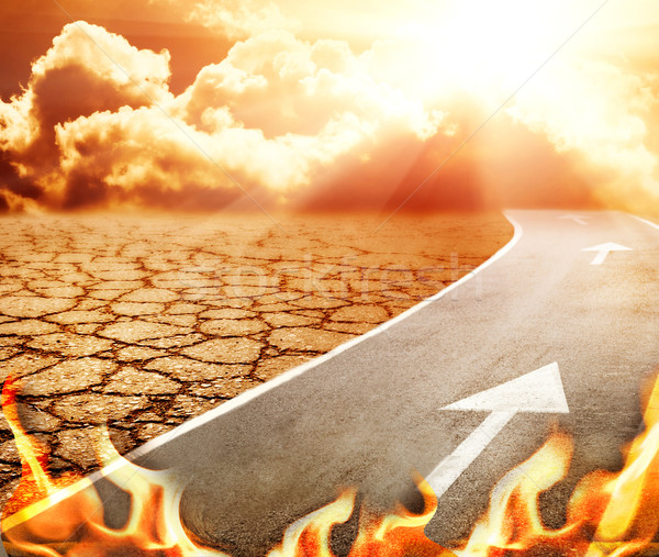 Carretera infierno desierto cielo carretera fondo Foto stock © Nejron