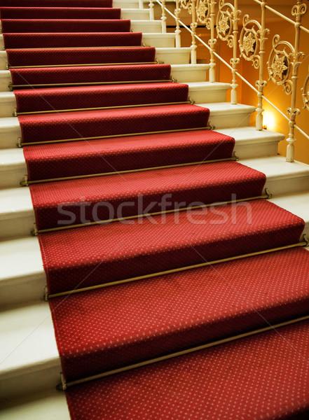 Lépcsősor fedett vörös szőnyeg terv hotel színház Stock fotó © Nejron