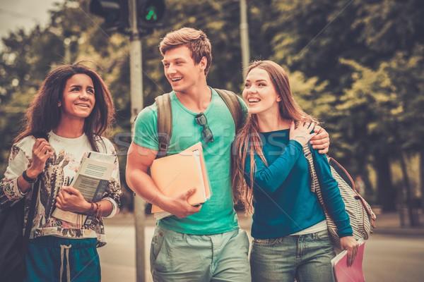 Csoport többnemzetiségű diákok sétál város nő Stock fotó © Nejron