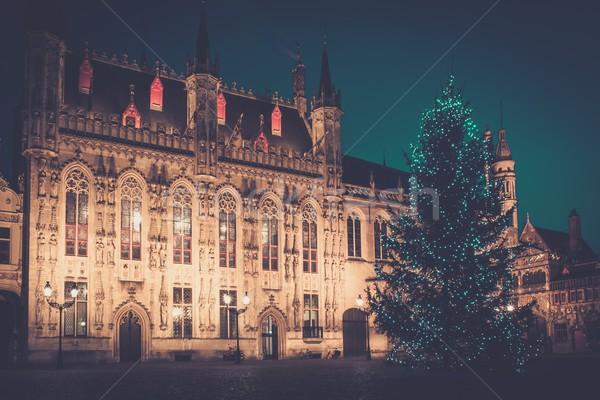 Megvilágított karácsonyfa tér Belgium ház épület Stock fotó © Nejron