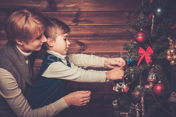 Stockfoto: Gelukkig · moeder · weinig · jongen · kerstboom · houten