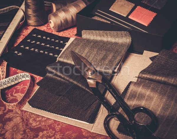 Cloth samples for custom made suits and jackets  Stock photo © Nejron