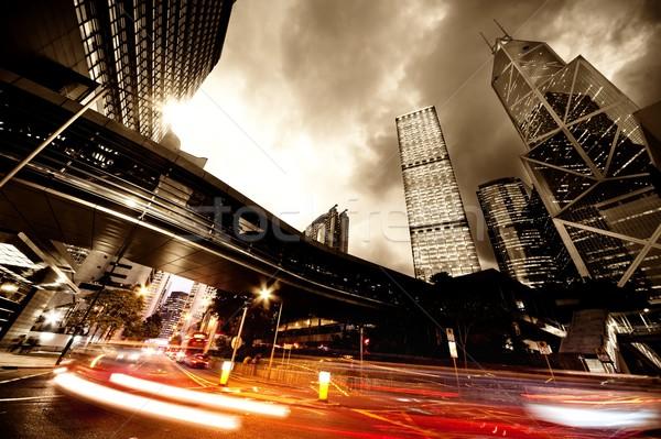 Gyors mozog autók éjszaka felhők út Stock fotó © Nejron