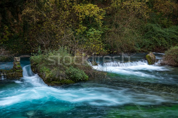 Weirs on river in Fontaine-de-Vaucluse, France Stock photo © Nejron
