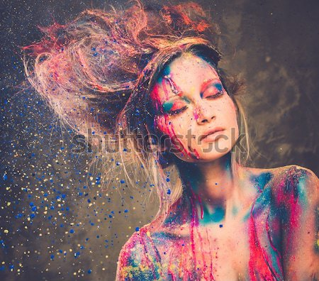 Young woman muse with creative body art and hairdo  Stock photo © Nejron