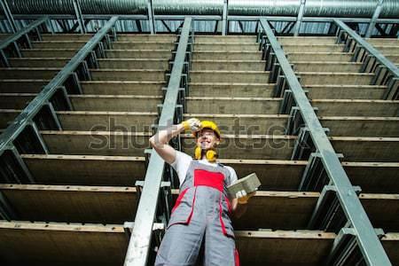 Arbeitnehmer Abstellraum Fabrikarbeiter Fabrik industriellen Ziegel Stock foto © Nejron