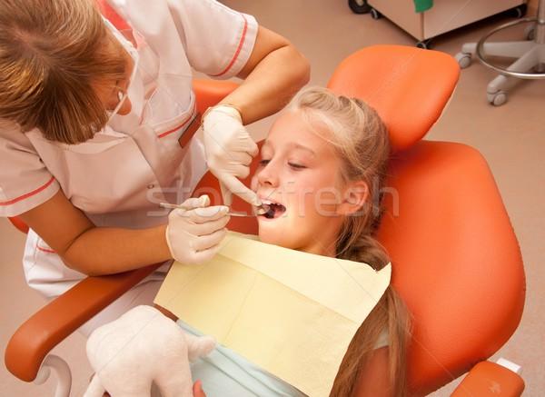 Foto stock: Dentista · mão · criança · saúde · medicina