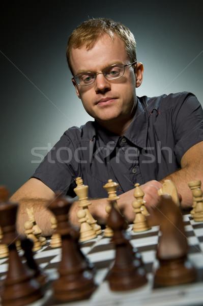 Thoughtful chess master Stock photo © Nejron