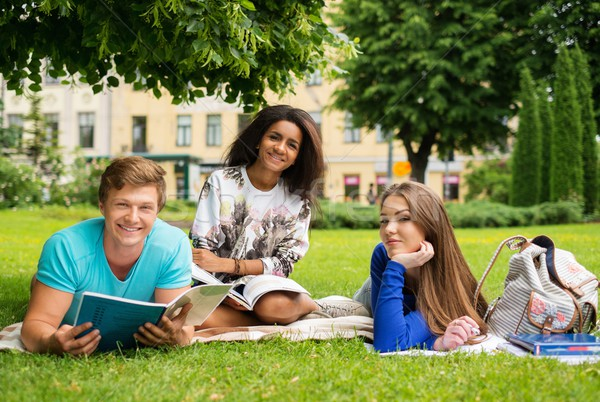 Group of multi ethnic students in a city park  Stock photo © Nejron