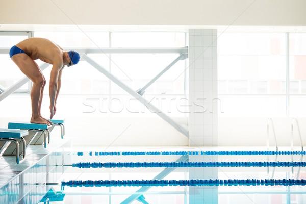 小さな 筋肉の スイマー 低い 位置 スイミングプール ストックフォト © Nejron