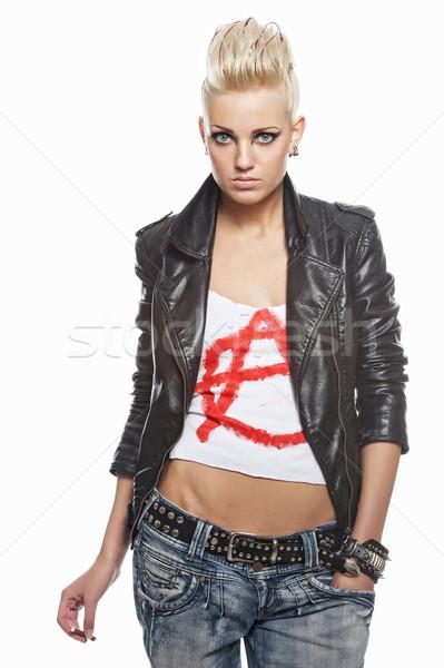 Punk nina cigarrillo aislado blanco mujer Foto stock © Nejron