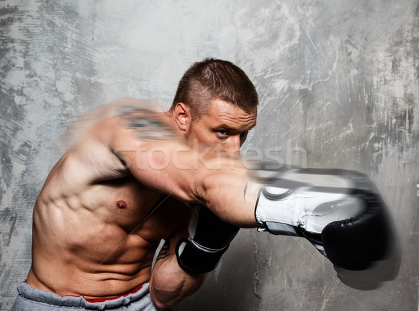 Young man in boxing gloves making punch  Stock photo © Nejron