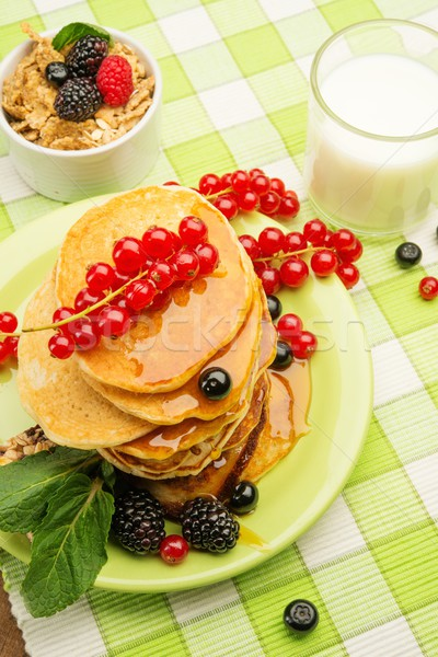 Sağlıklı kahvaltı krep taze karpuzu süt Stok fotoğraf © Nejron