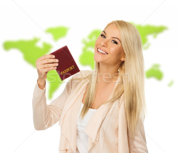 Feliz loiro mulher passaporte mapa do mundo moda Foto stock © Nejron