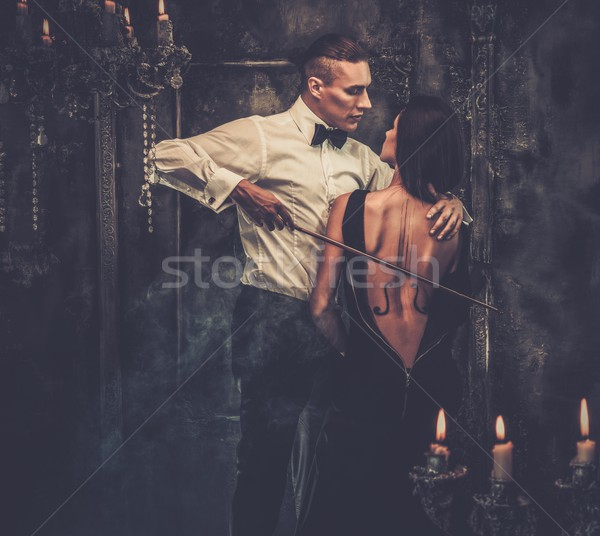 Woman With Violin Body Art And Man Holding Bow Stock Photo C Andrejs Pidjass Nejron 4704662 Stockfresh