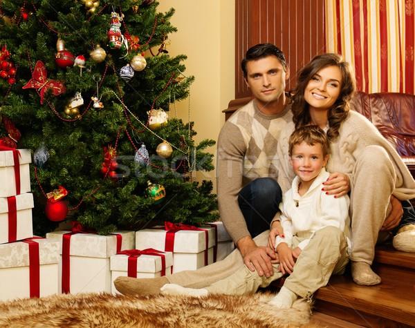 Boldog család karácsonyfa házbelső nő ház lány Stock fotó © Nejron