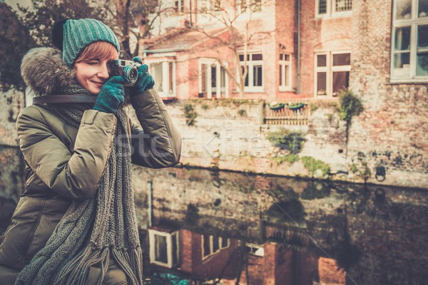Woman tourist along canal in Bruges, Belgium Stock photo © Nejron