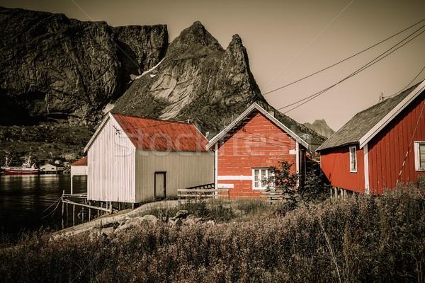 Traditional wooden houses against mountain peak in Reine village, Norway Stock photo © Nejron