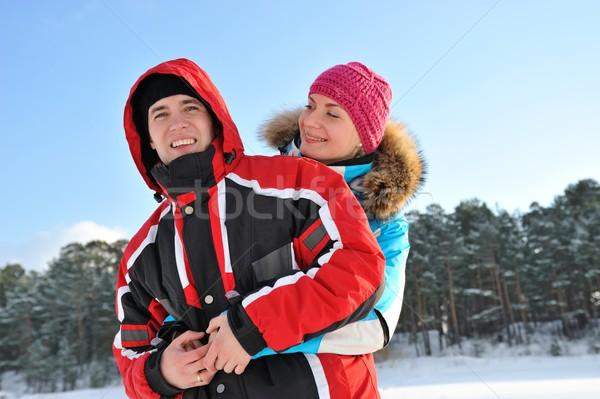 Stok fotoğraf: Güzel · çift · kış · gün · sevmek