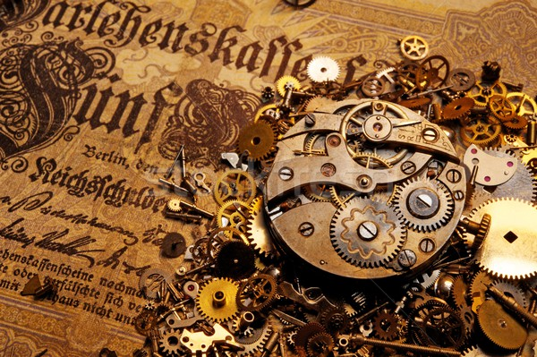 The gears on the old banknote Stock photo © Nejron