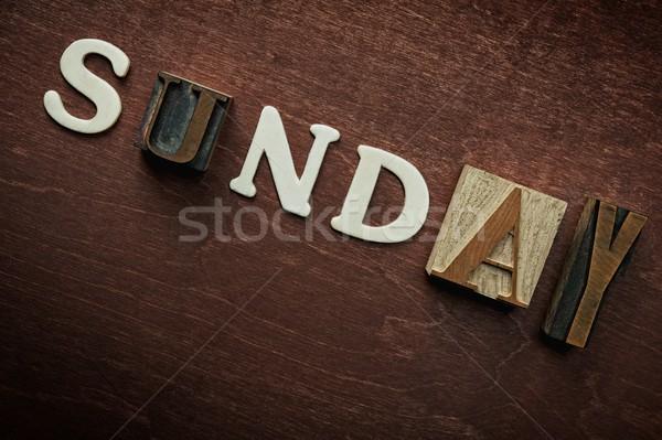 The word sunday written on wooden background Stock photo © Nejron