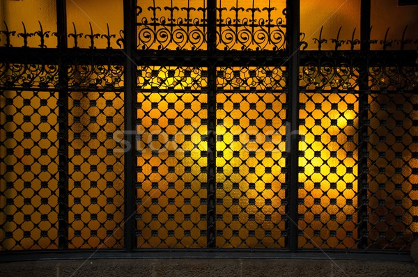Stock photo: Decorative metal grating on window