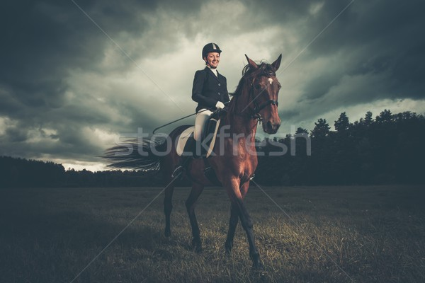 Beautiful girl sitting on a horse outdoors against moody sky Stock photo © Nejron