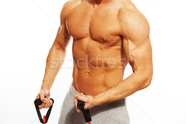 ストックフォト: ハンサムな男 · 筋骨たくましい体 · フィットネス · 行使 · ジム · 筋