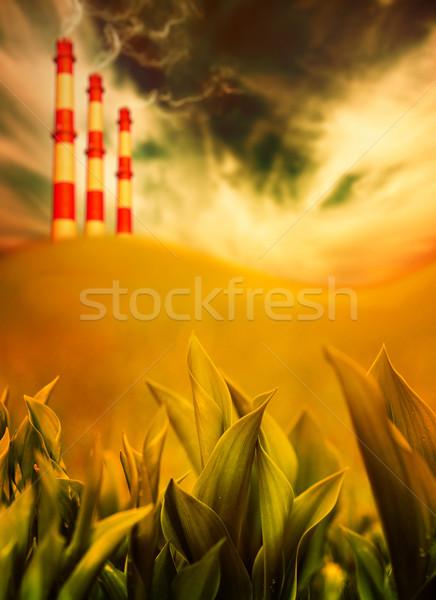 ökológia veszély globális felmelegedés fű természet fém Stock fotó © Nejron