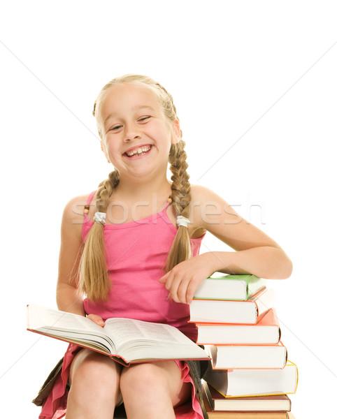 Gelukkig weinig schoolmeisje vergadering boeken Stockfoto © Nejron