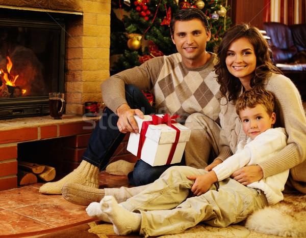 Familie haard christmas ingericht geschenkdoos Stockfoto © Nejron