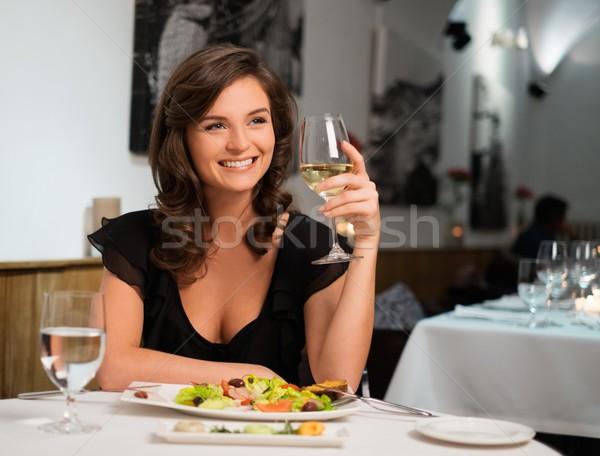 美しい 小さな 女性 だけ レストラン 女性 ストックフォト © Nejron