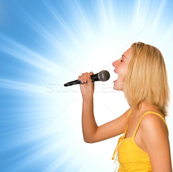 Foto stock: Hermosa · jóvenes · cantante · mujer · ojo · resumen