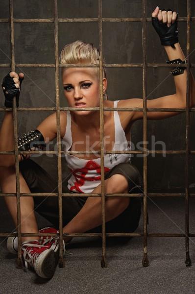 Punk nina detrás bares pintura rock Foto stock © Nejron