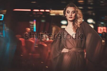 美しい ブロンド 女性 イブニングドレス 座って バー ストックフォト © Nejron