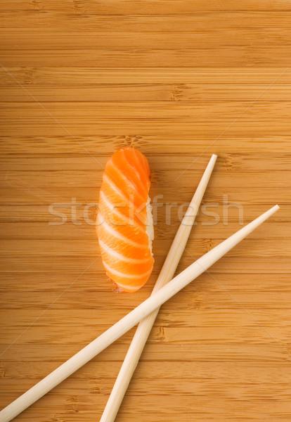 Sashimi fresche salmone bambù piatto alimentare Foto d'archivio © Nejron