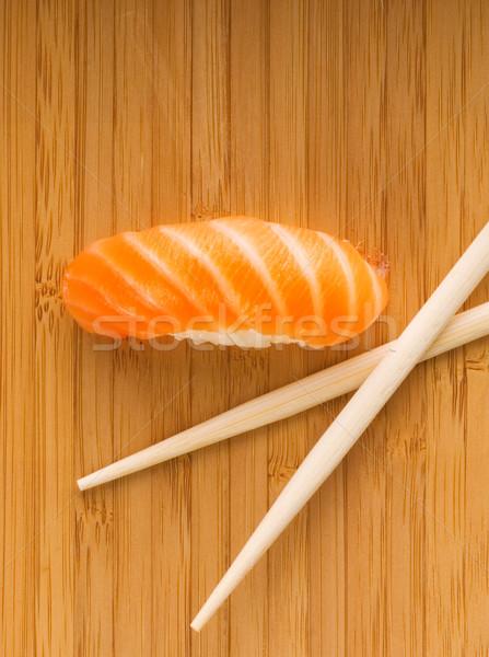 Sashimi with fresh salmon on bamboo plate Stock photo © Nejron