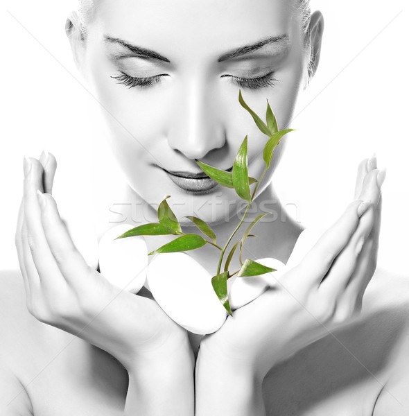 Beautiful young woman holding plant growing up through stones Stock photo © Nejron