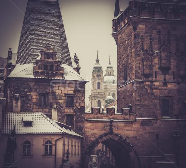 Buildings near river in Prague  Stock photo © Nejron