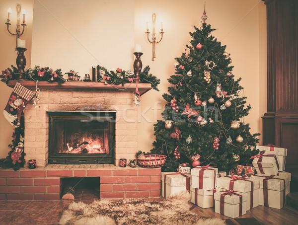 Karácsony díszített házbelső kandalló ház doboz Stock fotó © Nejron