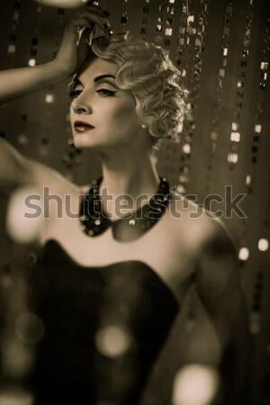 Vonzó steampunk lány tetoválás fal kék Stock fotó © Nejron