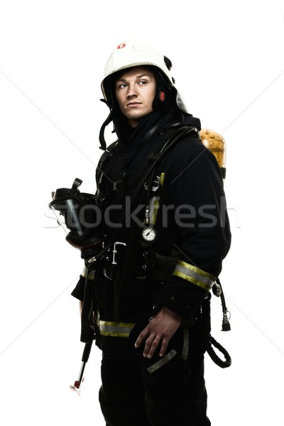 Brandweerman zuurstof ballon geïsoleerd witte werk Stockfoto © Nejron