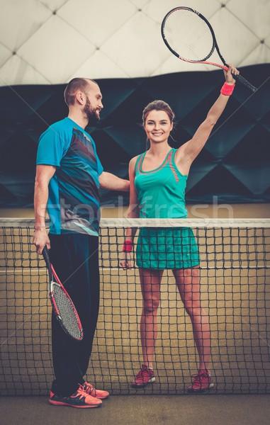 Nő játékos edző gyakorol teniszpálya klub Stock fotó © Nejron