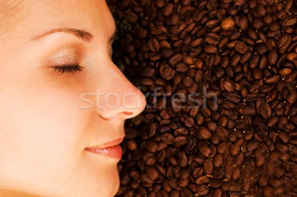Belo meninas cara grão de café sorrir café Foto stock © Nejron